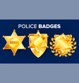 sheriff badge golden star officer icon vector image