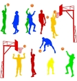 Silhouettes of men playing basketball on a white vector image