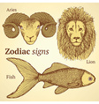 Sketch zodiac ram fish and lion vector image vector image
