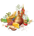 Still life with country food vector image vector image