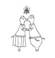 two pigs kissing under the mistletoe vector image vector image