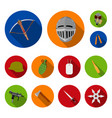 types weapons flat icons in set collection vector image vector image
