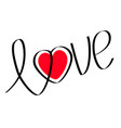 word love with red heart flat design happy vector image