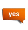 yes orange 3d speech bubble vector image vector image