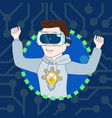 young guy in 3d virtual reality goggles profile vector image