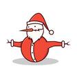 Isolated cartoon snowman wearing santa claus costu vector image