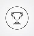 winner cup outline symbol dark on white background vector image