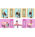 beauty or hairdressing salon interior with workers vector image vector image