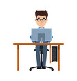 business man entrepreneur working on a laptop vector image