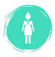 business woman white silhouette in a round vector image vector image