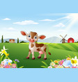cartoon cow in rural landscape vector image vector image