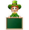 cartoon girl leprechaun presenting with chalkboard vector image vector image