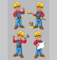 cartoon of construction worker character in set vector image vector image