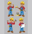 cartoon of construction worker character in set vector image