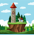 castle in nature landscape vector image vector image