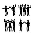 celebration poses set black pictogram silhouettes vector image vector image