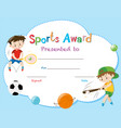 certificate template with two boys playing sports vector image vector image