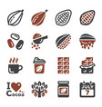 chocolate icon set vector image vector image