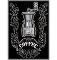 coffee grinder with ornament and inscription vector image