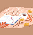 cozy autumn outdoor picnic composition with open vector image
