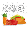 delicious food menu icons vector image