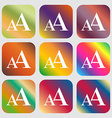 Enlarge font AA icon sign Nine buttons with vector image