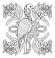 entangle hand drawn stork in hibiskus for adult vector image vector image