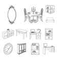furniture and interior outline icons in set vector image