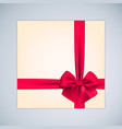 gift box with realistic red bow and ribbon for vector image vector image