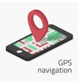 GPS navigation in phone vector image vector image