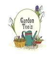 Hand drawn gardening tools emblem vector image vector image
