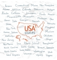 Hand Drawn USA states vector image