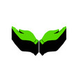 hand sign green 3d icon with vector image