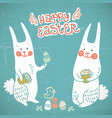 happy easter hand drawn card vector image vector image