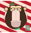 Happy New Year with monkey in candy retro frame vector image vector image