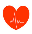 heart with cardiogram medical symbol vector image vector image