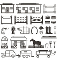 Horse Riding set in black and white vector image vector image