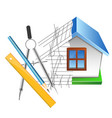house drawing and design vector image vector image