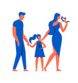 man with little girl and woman on white background vector image vector image