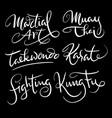 martial art sport hand written typography vector image vector image