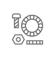 metal parts washers with bolts and bearings line vector image vector image