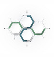 molecule with 3d paper label integrated hexagon vector image vector image