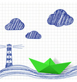 Paper boat and painted lighthouse vector image vector image