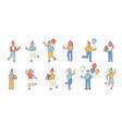 party guests flat line people character vector image vector image