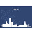 Portland city skyline on blue background vector image vector image