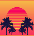 retrowave sun and palm trees vector image vector image