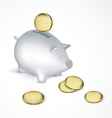 Saving pig with coins vector image vector image