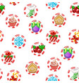 seamless pattern with christmas symbols on white vector image