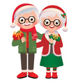 Senior married couple with Christmas gifts vector image vector image