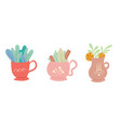 set flat decorative cups of vector image vector image